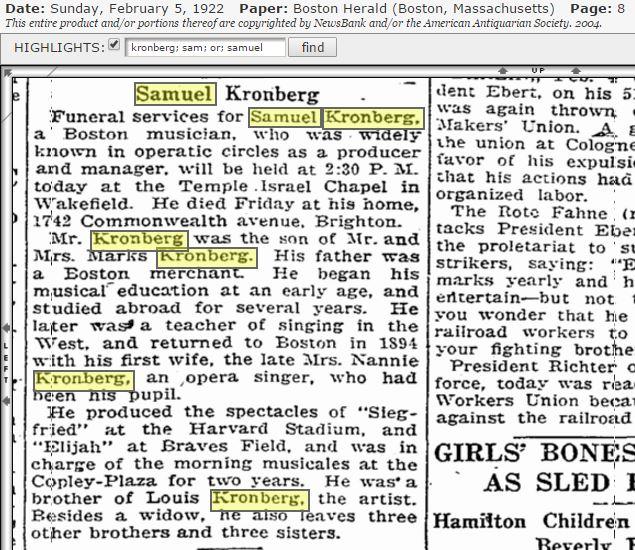 Samuel Kronberg obituary