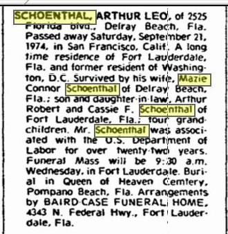 Arthur Leo Schoenthal death notice 1974