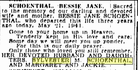 Bessie Rose Schoenthal memorial notice
