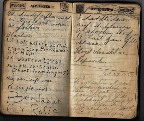 Grandpa notebook 11 hunting notes and final comment in 1939