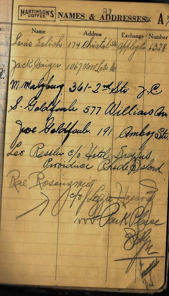 Grandpa notebook 13 more addresses Joe Goldfarb