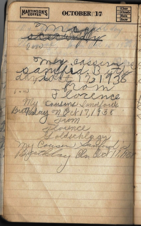 Grandpa notebook 16 Florence comment re Sandy Ressler