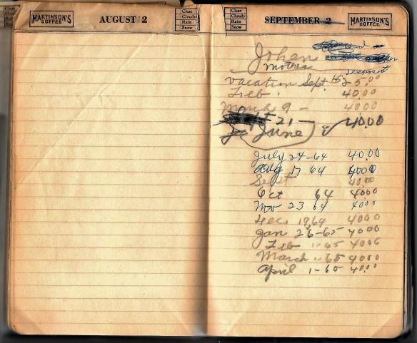 Grandpa notebook 1964 notes by Grandma