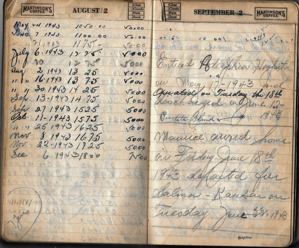 Grandpa Notebook 6 notes about Maurice in service