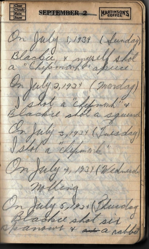 Grandpa notebook 8 maurice hunting notes 1934