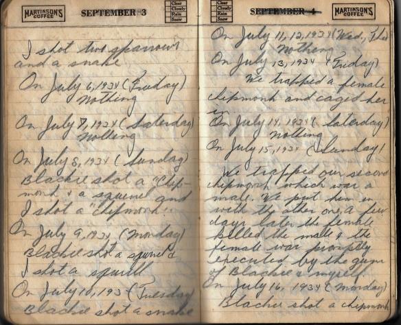 Grandpa notebook 9 more hunting Maurice 1934