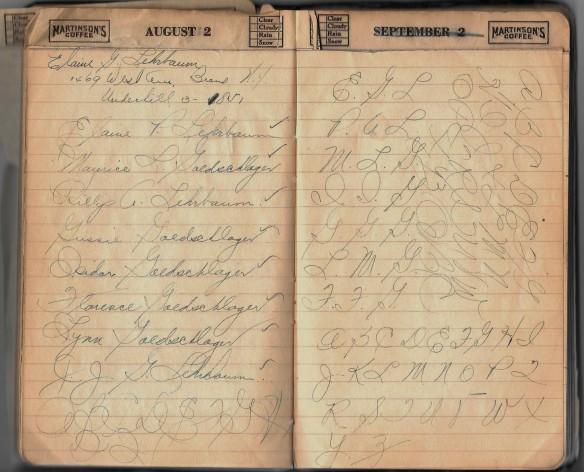 Grandpa notebook Aunt Elaine names 1
