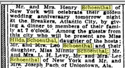 Henry Helen SChoenthal 50th anniversary celebration 1922