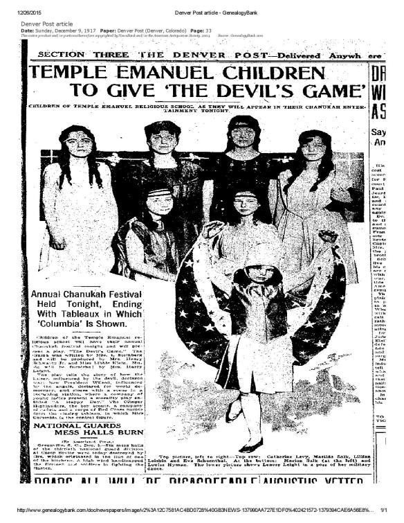 JPG Denver Post article -Eva SChoenthal 1917 in Hanukah play-page-001