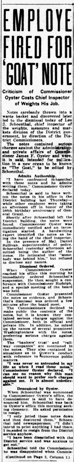 Leo Schoenthal fired Washington Times 1922