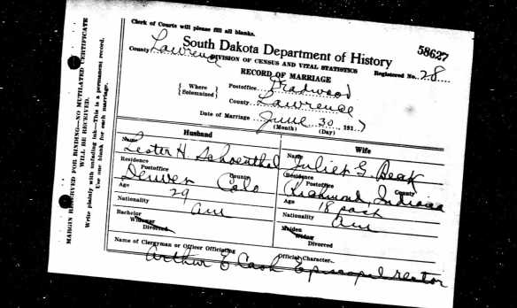 Lester Schoenthal and Juliet Beck marriage record Ancestry.com. South Dakota, Marriages, 1905-2013 [database on-line]. Provo, UT, USA: Ancestry.com Operations Inc, 2005. Original data: South Dakota Department of Health. South Dakota Marriage Index, 1905-1914, 1950-2013 and South Dakota Marriage Certificates, 1905-1949. Pierre, SD, USA: South Dakota Department of Health.