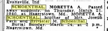 Moretta Schoenthal death notice 1940