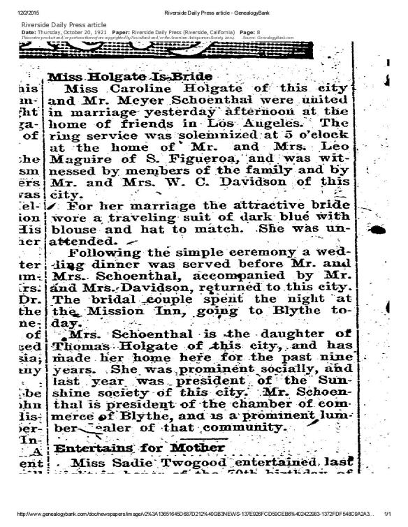 Riverside Daily Press article - Meyer Schoenthal 2d marriage 1921-page-001