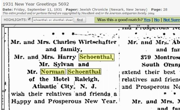 1931 Rosh Hashanah greetings Harry Schoenthal and family
