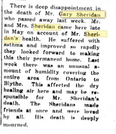 Gerson Schoenthal death Desert Sentinel July 1, 1954 p 1 Desert Hot Springs CA