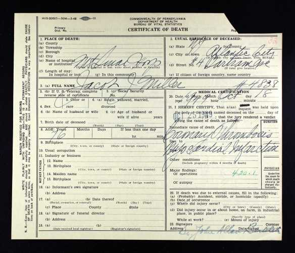 Jacob J Miller death certificate after inquest Ancestry.com. Pennsylvania, Death Certificates, 1906-1963 [database on-line]. Provo, UT, USA: Ancestry.com Operations, Inc., 2014. Original data: Pennsylvania (State). Death certificates, 1906–1963. Series 11.90 (1,905 cartons). Records of the Pennsylvania Department of Health, Record Group 11. Pennsylvania Historical and Museum Commission, Harrisburg, Pennsylvania.