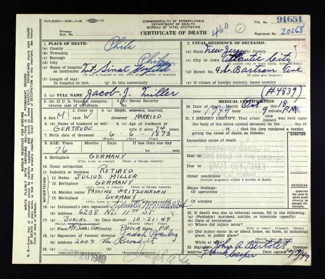 Jacob J. Miller death certificate before inquest Ancestry.com. Pennsylvania, Death Certificates, 1906-1963 [database on-line]. Provo, UT, USA: Ancestry.com Operations, Inc., 2014. Original data: Pennsylvania (State). Death certificates, 1906–1963. Series 11.90 (1,905 cartons). Records of the Pennsylvania Department of Health, Record Group 11. Pennsylvania Historical and Museum Commission, Harrisburg, Pennsylvania.