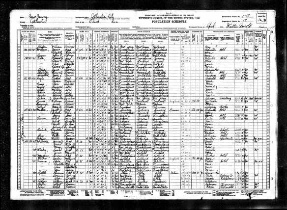 Jacob Miller, Arthur Ferrin, and families 1930 US census Year: 1930; Census Place: Atlantic City, Atlantic, New Jersey; Roll: 1308; Page: 16B; Enumeration District: 0017; Image: 744.0; FHL microfilm: 2341043