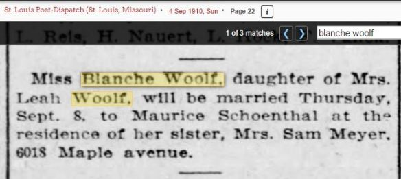 Maurice Schoenthal marriage notice