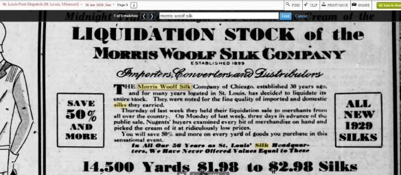 Morris Woolf better liquidation ad 1929