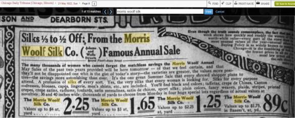 Morris Woolf silk ad