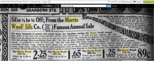 Morris Woolf silk ad