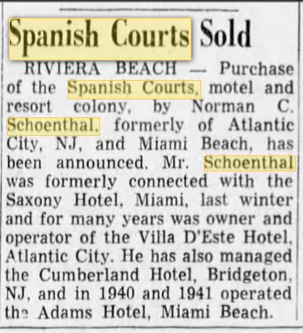 Normal Schoenthal buys Spanish Courts Palm Beach Post article