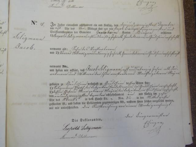 Jakob Seligmann death record