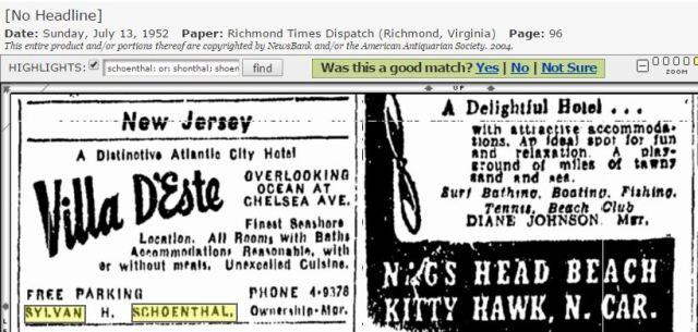 Sylvan Schoenthal ad villa deste 1952 Richmond VA paper