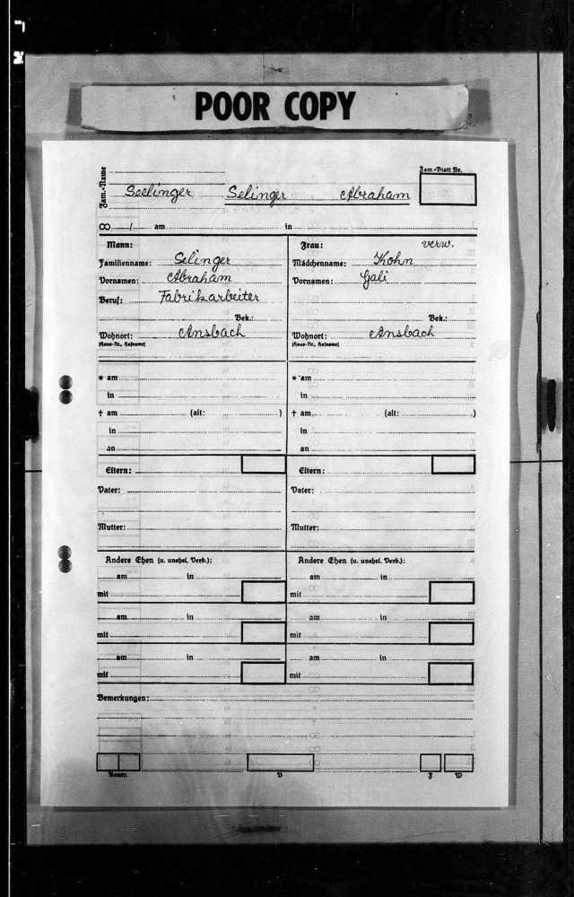 Abraham Selinger Lutheran register Ansbach