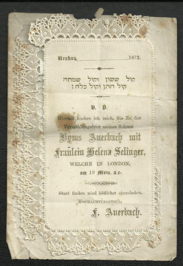 Invitation to the wedding of Helena Selinger and Hyms Auerbach Courtesy of Shirley Allen