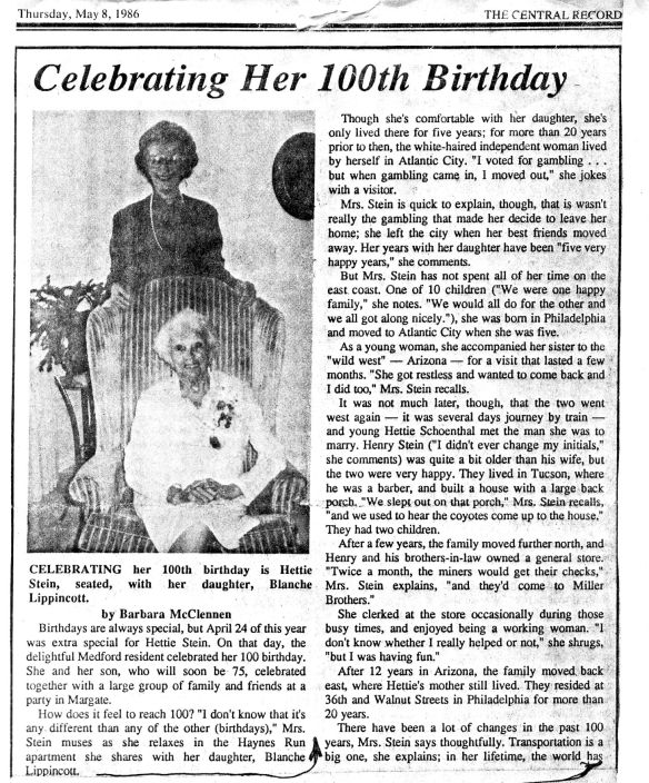 Hettie Stein Celebrates 100 part one