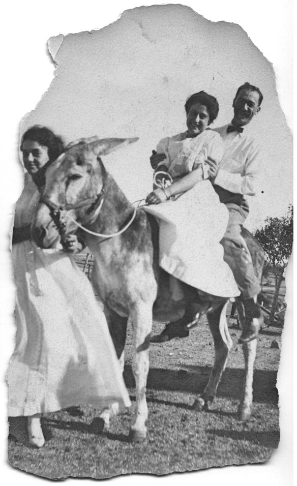 Hettie leading a donkey