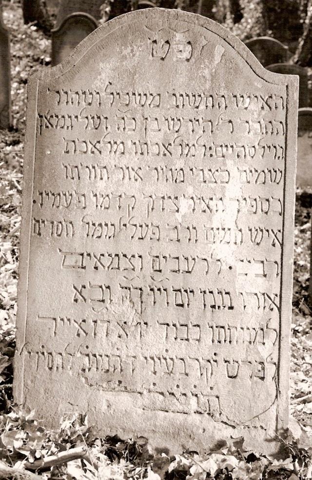 "Hirsch ""Isaac"" ben Seligmann headstone Found at http://www.steinheim-institut.de/daten/picsbng/xl/0358_bng.jpg"