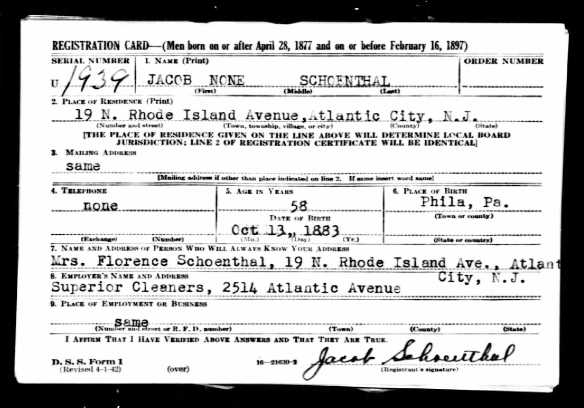 Jacob Schoenthal World War II draft registration Ancestry.com. U.S., World War II Draft Registration Cards, 1942 [database on-line]. Provo, UT, USA: Ancestry.com Operations, Inc., 2010. Original data: United States, Selective Service System. Selective Service Registration Cards, World War II: Fourth Registration. Records of the Selective Service System, Record Group Number 147. National Archives and Records Administration. Full Source Citation.
