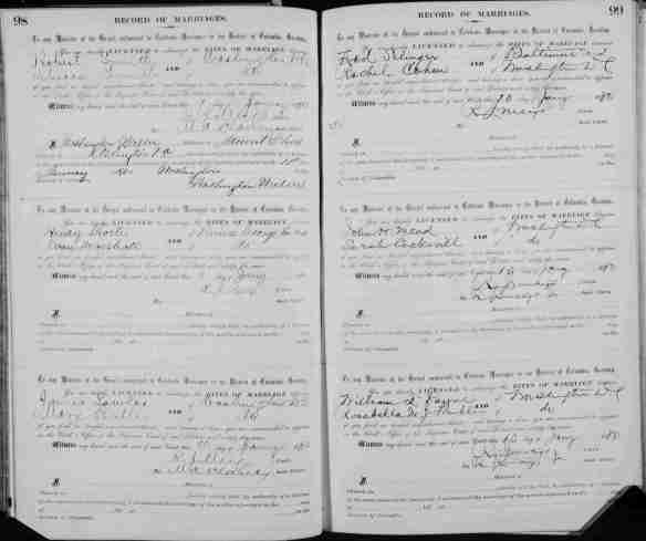 Marriage record for Frederick Selinger and Rachel Cohen 1880