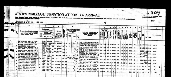 Ship manifest p 2 for Johanna Schoenthal and Heinrich Stern