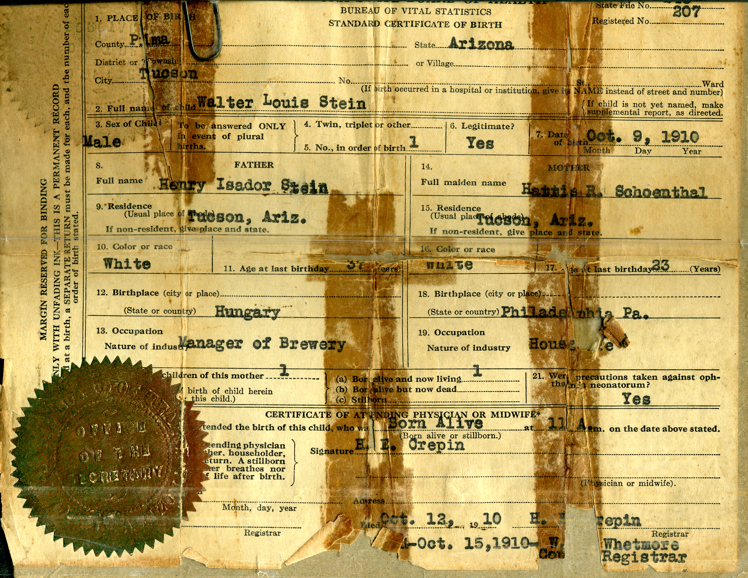 Ray arizona brotmanblog a family journey birth certificate of walter stein courtesy of the family xflitez Image collections