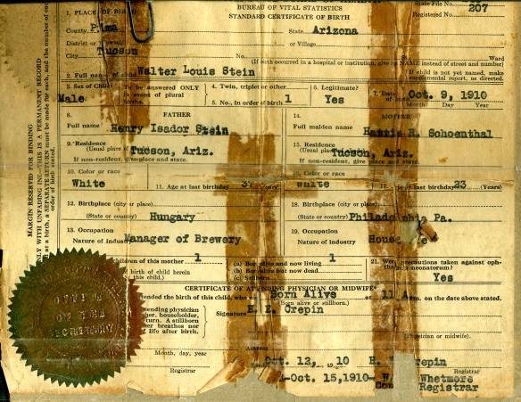 Birth certificate of Walter Stein courtesy of the family