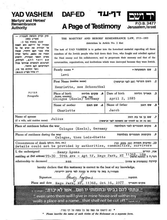 Yad Vashem page of testimony for Henriette Schoenthal Levi