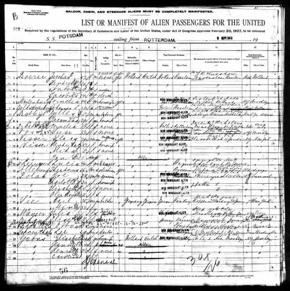 1911 ship manifest for Lee Schoenthal page 1