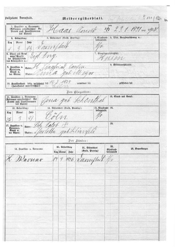 Darmstadt register for Arnold Haas and family indicating birth, marriage, and death of Haas and birth of son Werner