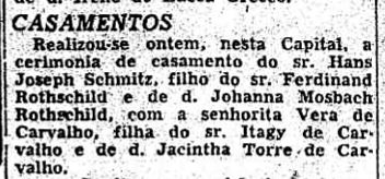 Hans Joseph Schmitz marriage announcement in Sao Paulo paper 1957