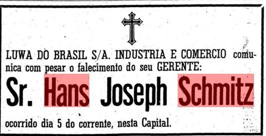Hans Schmitz death notice April 7, 1970 O Estado de Sao Paulo