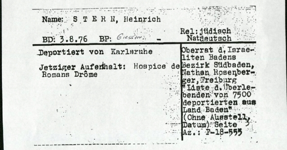 Heinrich Stern ITS card page 1