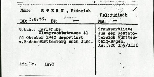 Heinrich Stern ITS card page 2