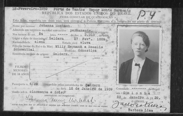 "Brasil, São Paulo, Cartões de Imigração, 1902-1980,"" database with images, FamilySearch (https://familysearch.org/ark:/61903/1:1:QKD5-RQ52 : accessed 31 March 2016), Joana Mosbach Rothschild, 1939; citing Immigration, São Paulo, São Paulo, Brazil, certificate 544986, registration 20634, Arquivo Público do Estado de São Paulo (São Paulo State Public Archives, São Paulo)."