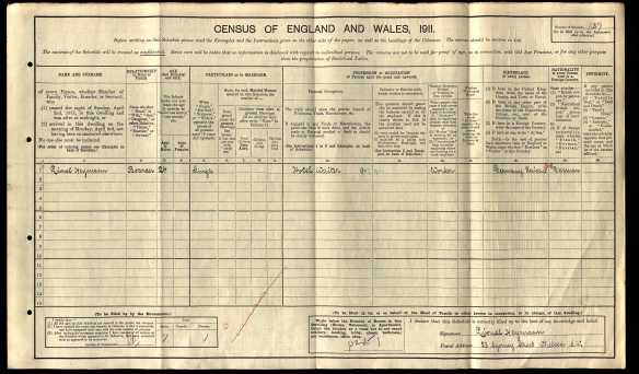 Lionel Heymann 1911 UK census Ancestry.com. 1911 England Census [database on-line]. Provo, UT, USA: Ancestry.com Operations, Inc., 2011. Original data: Census Returns of England and Wales, 1911. Kew, Surrey, England: The National Archives of the UK (TNA), 1911. Data imaged from the National Archives, London, England.