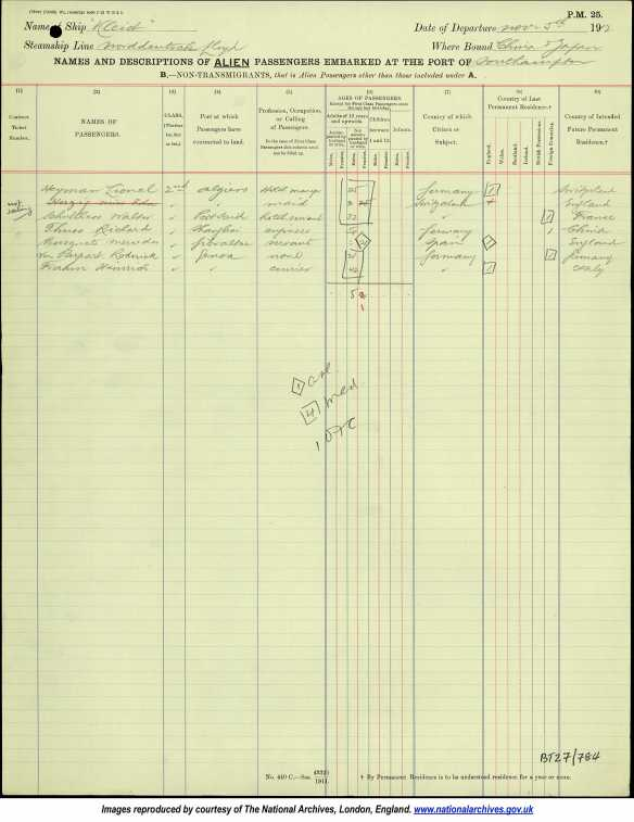 Lionel Heymann 1912 passenger manifest Ancestry.com. UK, Outward Passenger Lists, 1890-1960 [database on-line]. Provo, UT, USA: Ancestry.com Operations, Inc., 2012. Original data: Board of Trade: Commercial and Statistical Department and successors: Outwards Passenger Lists. BT27. Records of the Commercial, Companies, Labour, Railways and Statistics Departments. Records of the Board of Trade and of successor and related bodies. The National Archives, Kew, Richmond, Surrey, England.