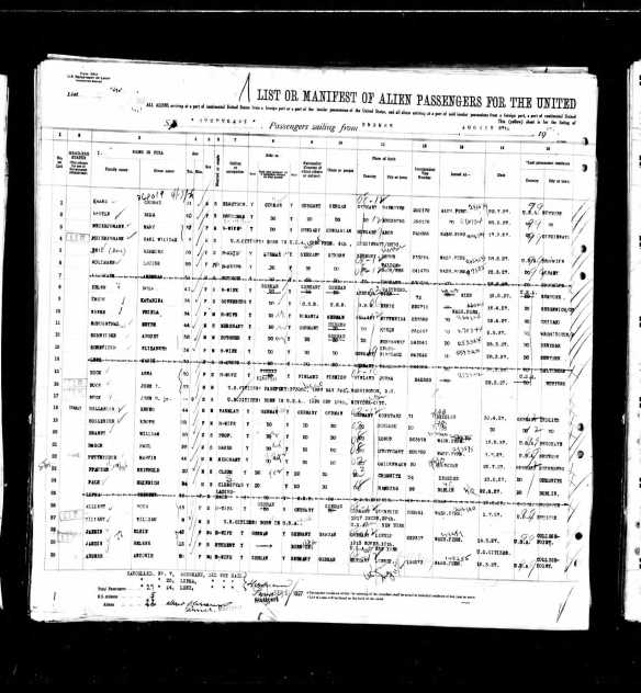 Meyer N Schoenthal 1927 ship manifest Year: 1927; Arrival: New York, New York; Microfilm Serial: T715, 1897-1957; Microfilm Roll: Roll 4123; Line: 1; Page Number: 134